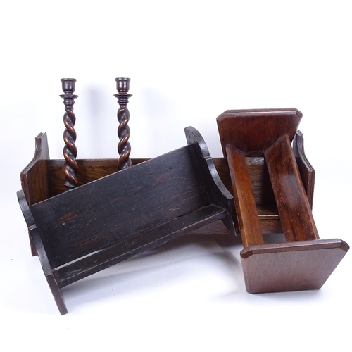 53 - 3 Vintage stained wood book racks, and a pair of stained oak barley twist candlesticks, height 32cm ...
