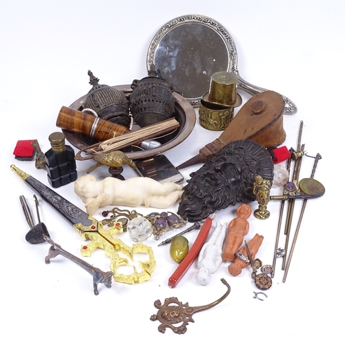 54 - Various interesting collectables, including bronze furniture corner mask mount, small bellows, novel...