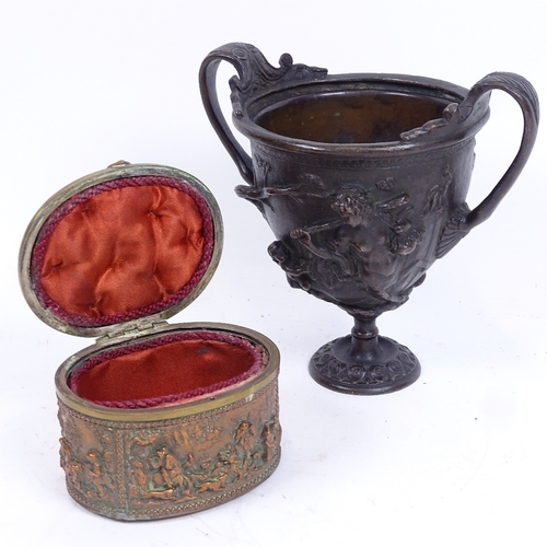 55 - A Neoclassical Renaissance patinated bronze urn, and a Dutch copper and brass jewel box, urn height ...