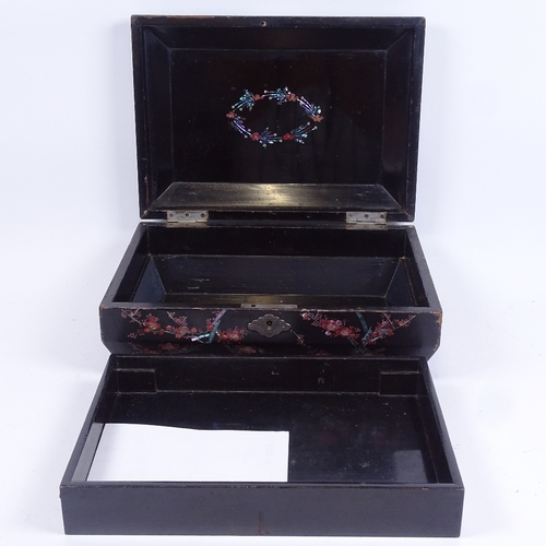 57 - An early 20th century Japanese black lacquer and abalone rectangular jewellery box, bird and flower ...