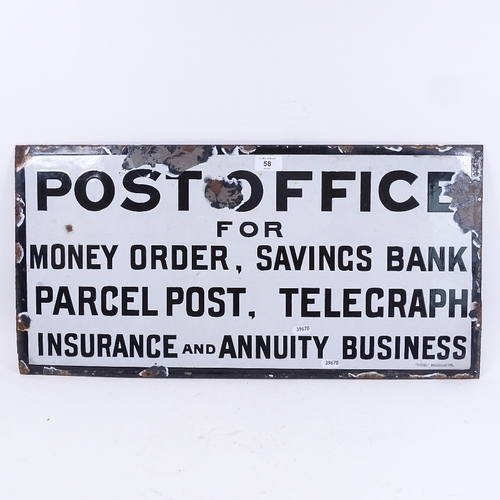58 - A Vintage black and white enamel Post Office advertising sign, 33cm x 66cm...