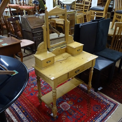 1768 - An Antique pine dressing table, with swing mirror and fitted drawers, on turned legs, W91cm, H142cm,...