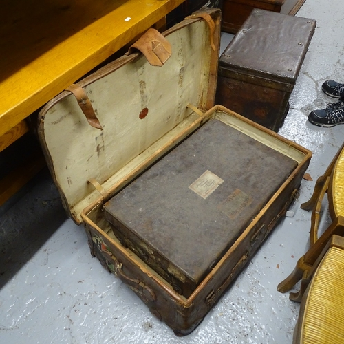 1959 - 3 various Vintage leather-bound trunks and suitcases...
