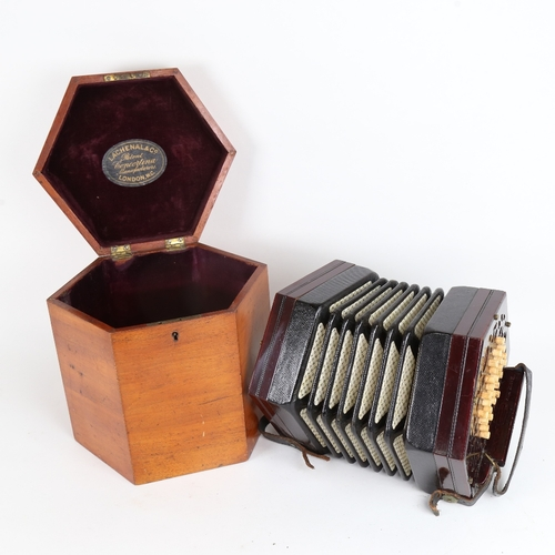 10 - A Victorian Lachenal & Co rosewood concertina, 46 buttons, patent no. 4752, in original fitted hexag...