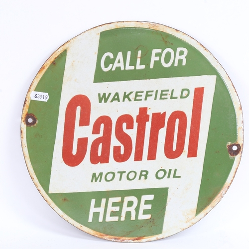 16 - A Vintage green red and white enamel Call For Castrol Wakefield Motor Oil Here circular advertising ...
