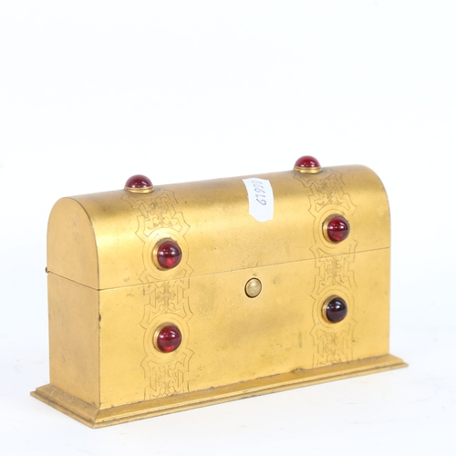 20 - A small Gothic gilt-brass stone set dome-top stationery box, with engraved decoration, W17cm, H9cm, ...
