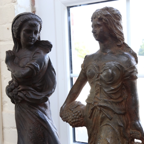 34 - 2 large cast-iron female sculptures, unsigned, largest height 68cm (2)
