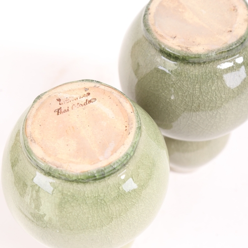 36 - A pair of celadon crackle-glaze double-gourd vases, height 18cm