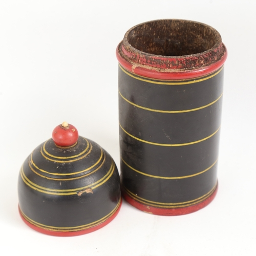 37 - A treen painted boxwood spice box/jar and cover, height 22cm