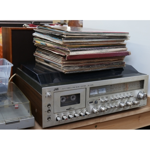 5 - JVC - a Vintage hi-fi 3-in-1 music centre model MF-1845L, and WHARFEDALE - a pair of Denton 2XP spea...