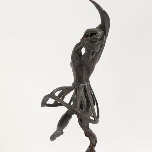 48 - A modernist nude bronze ballerina sculpture, unsigned, on wood plinth, overall height 41cm