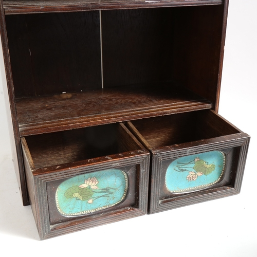 53 - A Japanese hardwood table-top cabinet, with inset cloisonne enamel panelled drawers, H49cm, W39cm, D...