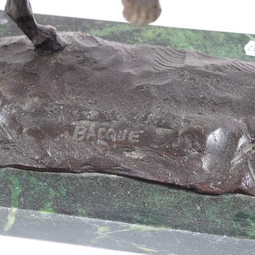 55 - After Daniel Joseph Bacque, large bronze figural sculpture, Native American on horseback, signed, on...