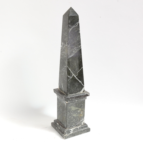 57 - A large green veined marble obelisk statue, height 47cm