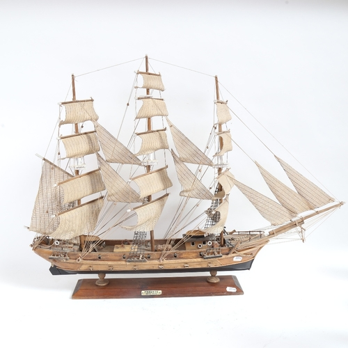 59 - A handmade model frigate warship, with 18lb  guns, on wood stand, overall length 82cm, overall heigh...