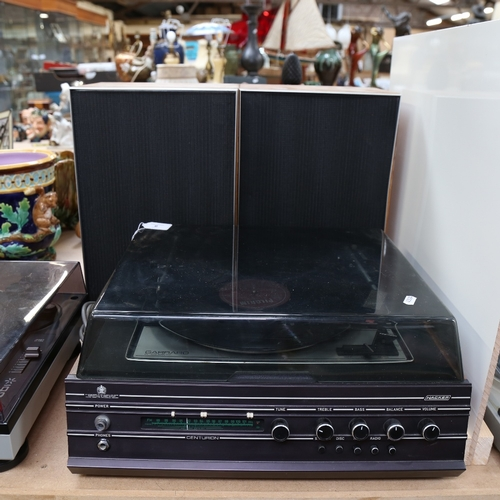 7 - HACKER - a Vintage Centurion music centre record player, with Garrard SP25 MK IV turntable, and a pa...