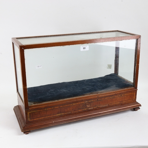 60 - A mahogany-framed glazed table-top shop display cabinet, inlaid crossbanded decoration with end door...