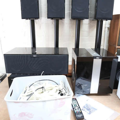 1 - KEF - an extensive home entertainment sound speaker Hi-Fi system, comprising 1 x R400b subwoofer, 1 ...