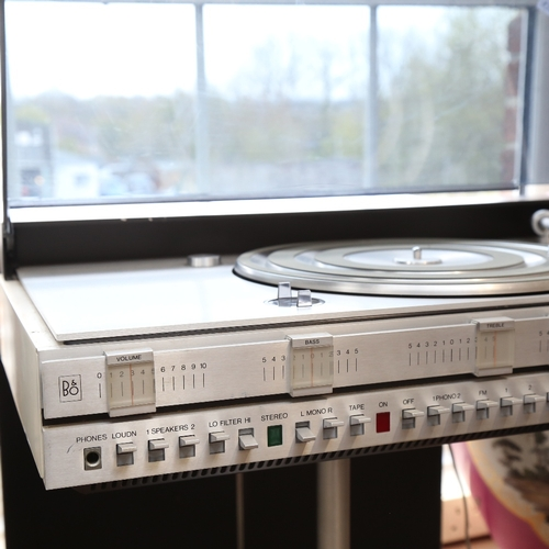 10 - BANG & OLUFSEN (B&O) - a Vintage BeoCenter 3500 turntable and FM tuner, and a pair of BeoVox 3702 lo...