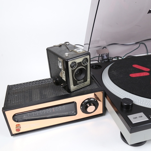 12 - ION - a modern iTT02 turntable, a Pye High Fidelity VHF tuner, and a Vintage Brownie model D camera ...