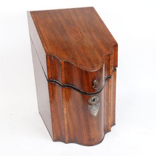 30 - A George III crossbanded mahogany knife box, with silver plated mounts and fitted interior, H37cm, W...