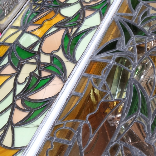 36 - 2 similar handmade stained glass leadlight window panels, 124cm x 39cm each (2)