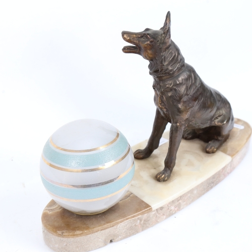 37 - An Art Deco figural Alsatian dog lamp, sectional veined marble base, with spelter figure and origina...