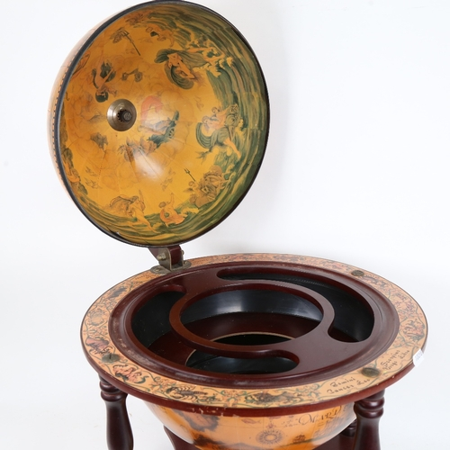 38 - A reproduction table-top globe drinks cabinet, height 55cm, diameter 41cm