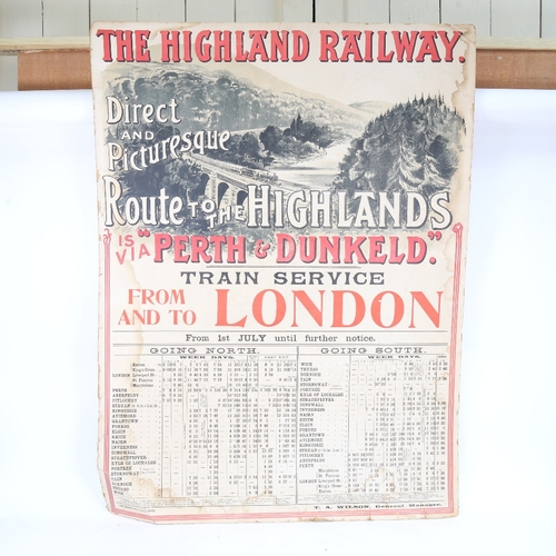41 - A large scale early 20th century Highland Railway Transport poster,