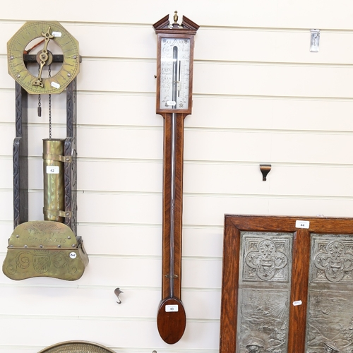 43 - A mahogany mercury stick barometer, by Charles Aiano, height 100cm
