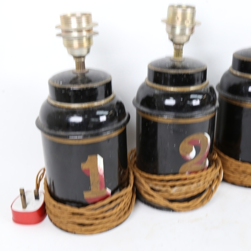 51 - A set of 4 Vintage painted and gilded tea canisters converted to electric lamps, height excluding fi...