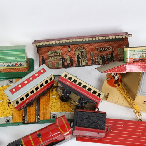 55 - Various Vintage tinplate and other toys, including Hornby Dublo carriages and buildings (boxful)