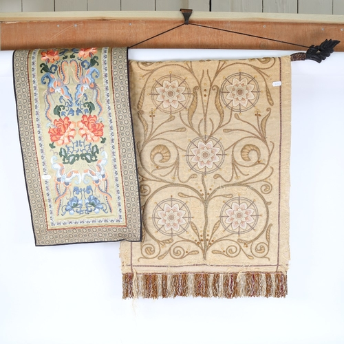58 - A Chinese silk embroidered panel, and another needlepoint embroidery (2)