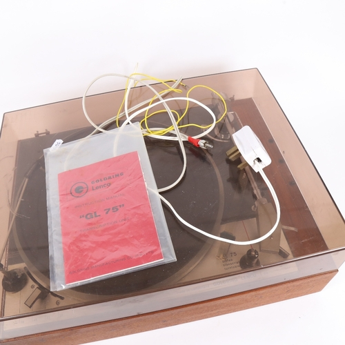 8 - LENCO - a Vintage Goldring GL75 stereo transcript turntable, with original instruction manual