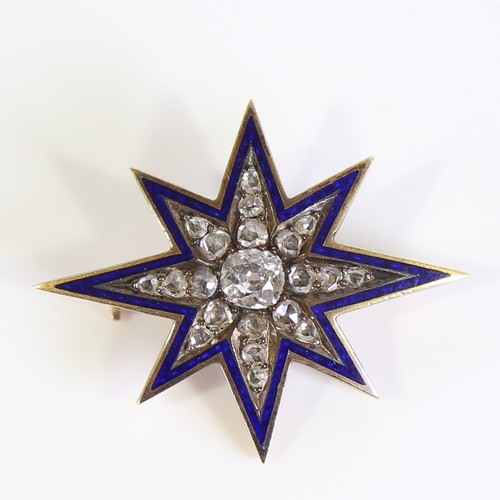 A Victorian diamond and blue enamel 8-point starburst brooch, unmarked gold settings with old and rose cut diamonds within a blue enamel border, central diamond approx 0.3ct, stone dimensions: 4.78 x 4.40 x 2.53mm, brooch length 33.2mm, 4.8g