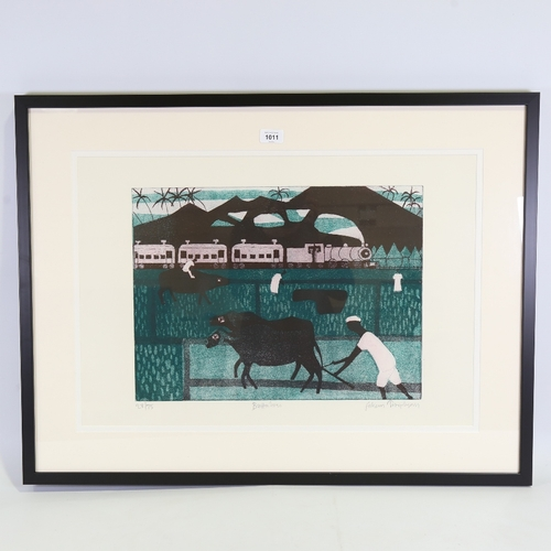 """Julian Trevelyan, coloured etching, buffaloes, signed in pencil, no. 28/75, plate 14"""" x 18.5"""", framed"""