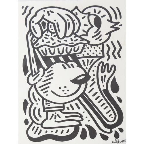 The Doodle Man (Sam Cox), original felt pen on paper, cake stealer, signed with Certificate of Authenticity, 20cm x 14.5cm, unframed