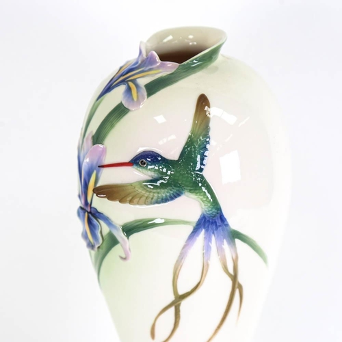 21 - FRANZ COLLECTION - an Art Nouveau style porcelain vase, with moulded and painted kingfisher and iris...
