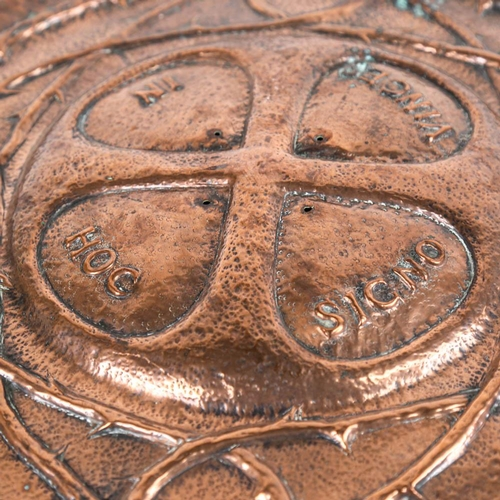 25 - An Arts and Crafts copper plaque, inscribed In Hock Signo Vinces, 59cm