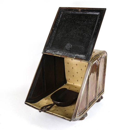 35 - A Victorian brass coal bin, with embossed decoration, and shovel, height 42cm