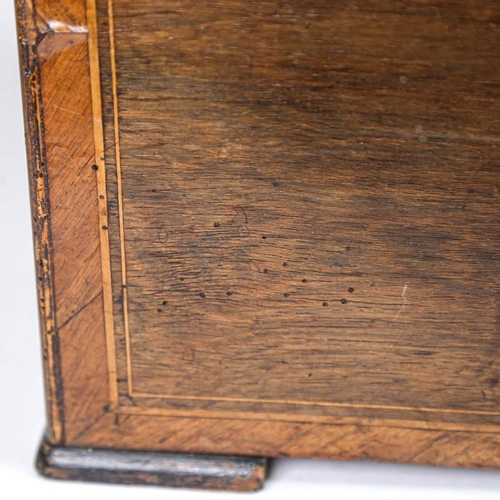 37 - A large Antique Swiss rosewood music box, playing 12 airs with 6 bells, with inlaid decoration, cyli...
