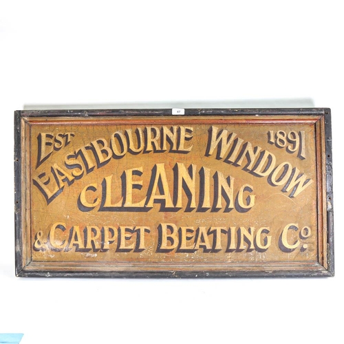 47 - A large Vintage double-sided painted advertising sign in wooden frame, The Eastbourne Window Cleanin...