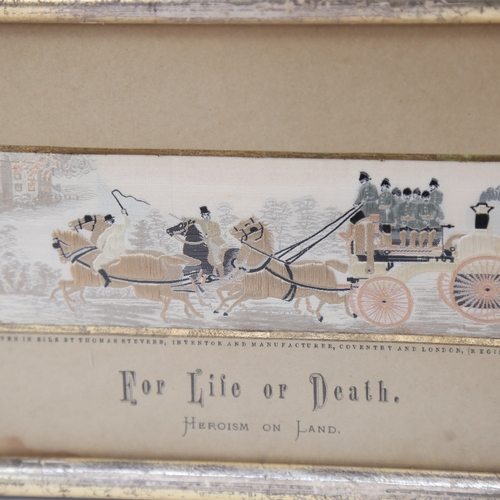 31 - A pair of silk embroidered stevengraph pictures, comprising The Present Time and For Life or Death, ...