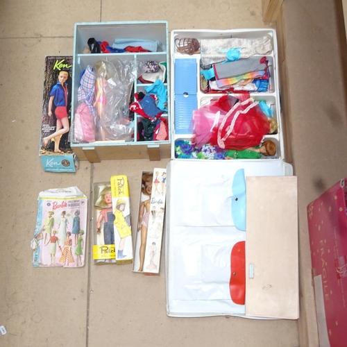 Barbie case, Ken figure, wardrobe etc