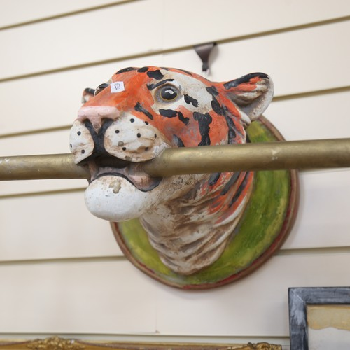 10 - A set of 3 painted plaster tiger wall light sconces, brass pole lengths 52cm (3)