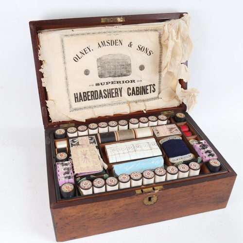 A Victorian mahogany sewing box, with original fittings by Olney, Amsden & Sons Haberdashery Cabinets