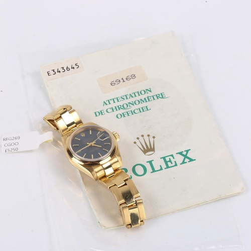 22 - ROLEX - a lady's 18ct gold Oyster Perpetual Datejust automatic bracelet watch, ref. 69168, circa 199...