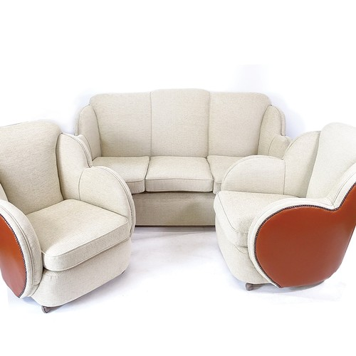 A 1930s Art Deco Epstein cloud-back 3-piece suite, comprising a 3-seater sofa and 2 matching armchairs, recently reupholstered