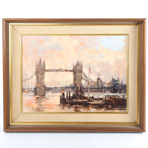 Sydney Foley, oil on board, Morning Light at Tower Bridge, signed with Exhibition label verso, 30cm x 40cm, framed
