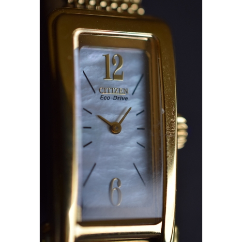 71 - Ladies Citizen Eco watch in box and on expanding bracelet. In working order...